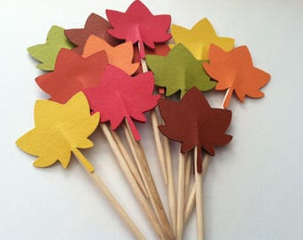 12 Fall leaf cupcake toppers