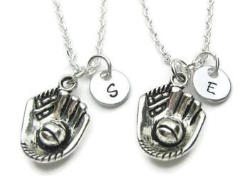 2 Personalized Baseball Necklaces, 2 Best Friends Necklaces,Baseball Necklaces,Baseball Best Friends Necklaces,Monogram