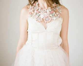 Bridal Statement Necklace - Wedding Necklace - Statement Necklace - Flower Necklace - Bridal Flower Necklace - Wedding Accessory