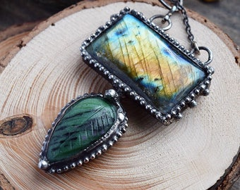 Stacked Labradorite Leaf Necklace // Green Labradorite Statement Necklace