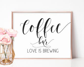 Wedding Coffee Sign, Barn Wedding Decorations, Bridal Shower Signs, Coffee Bar Sign, Wedding Favors Sign, Coffee Favors, Love is Brewing