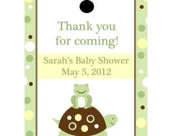 24 Personalized Baby Shower Favor Tags - Turtle and Frog - Yellow and Green