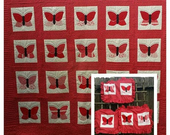 Beautiful red butterflies Quilt Handmade set with 3 pillow covers