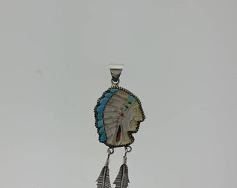 Navajo pendant shells carving with inlay on Sterling Silver
