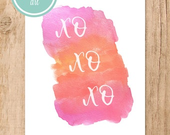 XO Watercolor Printable Art