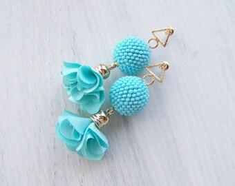 Fabric Flower Earrings - Sky blue Tulip Earrings - Light Flower Drop Earrings - Layered Fabric Flower Earrings - Beaded Ball Flower Earrings