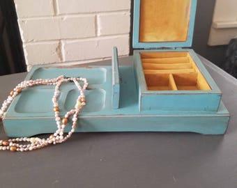 Distressed aqua jewelry box.