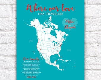 Travel Gifts, Custom North America, USA, Canada, Mexico, Central America Map, Travel Dots, Anniversary Gift, Gift for Husband, Wife, 10 year