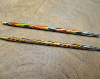 Clearance Size 10 Options Interchangeable Rainbow Wood Circular Knitting Needle Tips