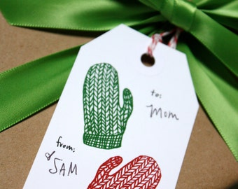 Holiday Gift Tag Set with red and green knitted mittens