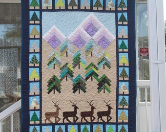 Mountain Greener Deer Quilt Wall Hanging
