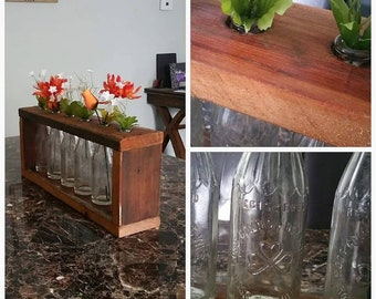 Vintage Bottle & Barn Wood Table Centerpiece