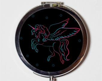 Neon Unicorn Compact Mirror - Kawaii Winged Pegasus Kitsch - Make Up Pocket Mirror for Cosmetics