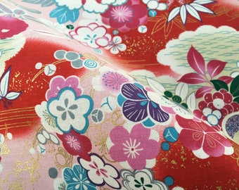 Japanese fabric, red floral fabric, metallic gold floral, oriental cotton, red floral by the metre, japanese  fat quarter, cheery blossom