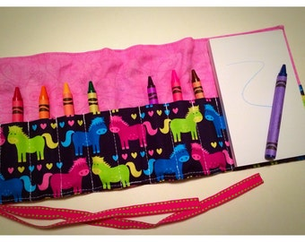 Crayon Roll Up - Crayon Holder - Crayon Organizer with Pad & Crayons - Ponies