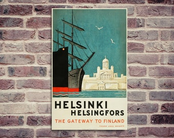 Helsinki poster. Vintage poster. Finland poster. Helsinki harbor poster.