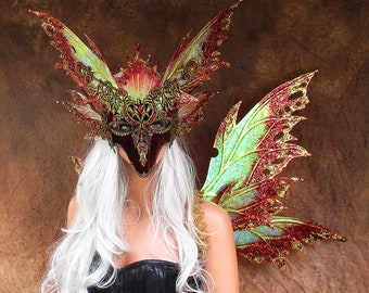 Adult Fairy Wings and Mask**Iridescent Red/Gold**FREE SHIPPING**Costume/Masquerade/Weddings