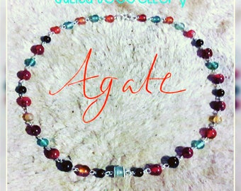 Forest handmade agate bead necklace