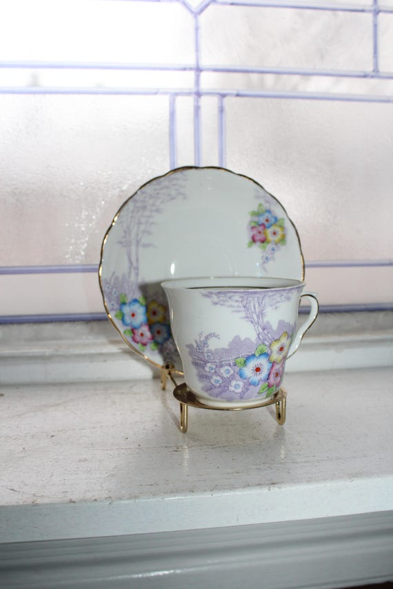 Colclough Tea Cup and Saucer Flower Decor Bone China Made in England