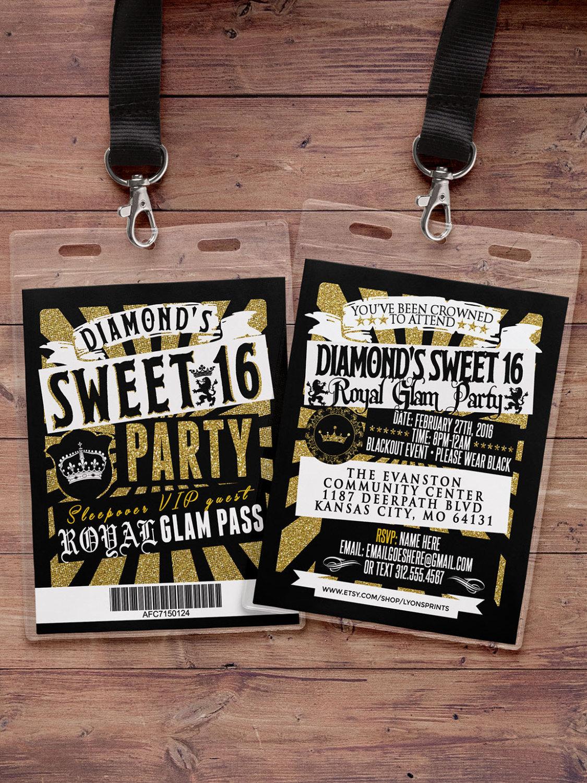 VIP PASS, Sweet 16, 21st birthday, backstage pass, concert ticket ...