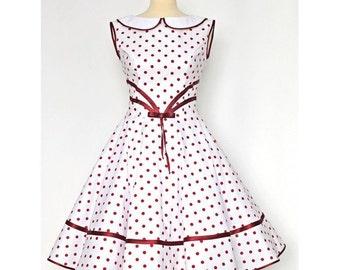 Petticoat dress dress 50's rockabilly white red
