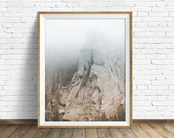 """landscape photography, digital photography, instant download printable art, black and white, large wall art, art prints - """"Monolith No. 3"""""""
