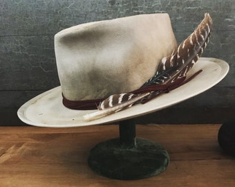 One of a kind hat, handmade custom hat wide brim fedora hat