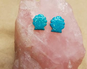 Blue Turquoise Seashell Cabochon Pair/ backed