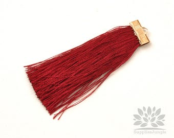 T021-WN// Wine Rayon with Gold Plated Flat Rectangle Cap Tassel Pendant, 2pcs, 65mm