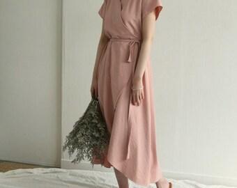 Linen summer wrap dress - Kimono linen dress - summer linen dress - romantic linen wrap dress - plus size dress - Pink linen dress -kimono