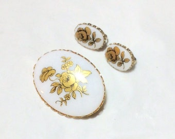 Vintage Porcelain Flower Pin and Earrings