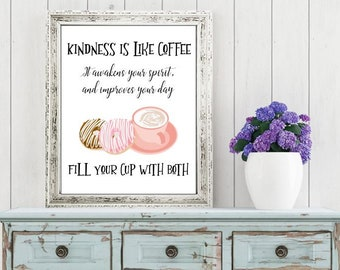 Wall art quotes - Kindness is like Coffee