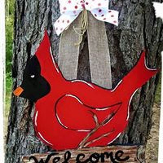 Cardinal Bird door hanger welcome sign red bird home decor wood  gift Sign