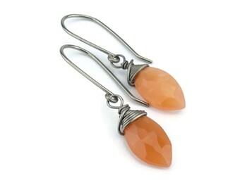Peach Moonstone Hypoallergenic Earrings for Sensitive Ears, Orange Gemstone Earrings on Niobium or Titanium Earwires, Nickel Free Jewellery