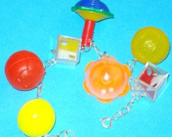 Cracker Jack Toy OOAK Colourful Charm Bracelet