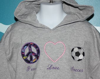 Youth Soccer Sweatshirt - Custom Peace Love Soccer youth hooded sweatshirt - Embroidered hood soccer sweatshirt - Soccer Lover
