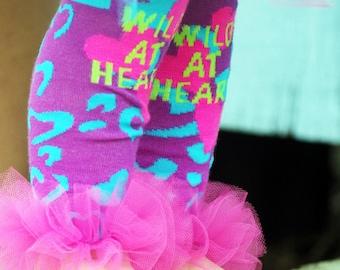 "Wild at Heart Bunny Legs - Girls Ruffled Tutu Leg Warmers - Pefect for crawling babys fits 6m to 6X apptox 12"" long"
