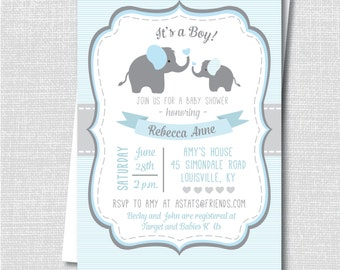 Blue Elephant Baby Shower Invite - Boy Baby Shower - Digital Design or Printed Invitations - FREE SHIPPING