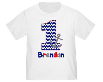 Birthday Anchor Nautical Personalized Birthday Shirt - ANY Age