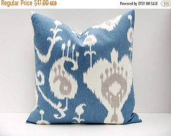 15% Off Sale Throw Pillow cover, Blue Pillow, Ikat Pillow, Gray Pillow , Grey Pillow, Decorative Pillow, Cushion Covers, Blue throw pillows