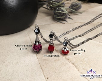 Healing Potion Necklace - Victorian Style - Game-inspired Fantasy Jewelry - Aged Silver - Swarovski Crystal - Magical - Alchemy - Apothecary