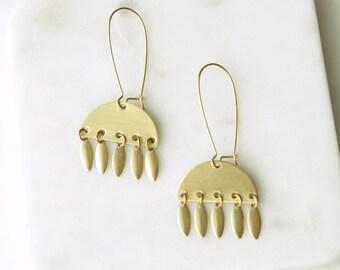 Long Chandelier Earrings, Brass Fringe  Earrings, Simple Dangle Earrings