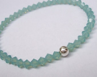 Green Opal Swarovski crystal stretch bracelet with Sterling Silver or 14K gold Fill bead