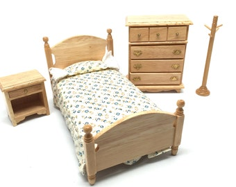 Dollhouse Furniture, Bedroom Suite, 4 Pieces, Traditional, Miniature, 1:12 Scale, Upholstered, 1980