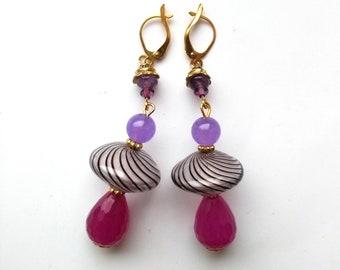 Purple& Fuchsia Jade Earrings, Large Disc Earrings, Stripy Glass Earrings, Brass Floral Caps, GP Leverback - Exotic Colors by enchantedbeads