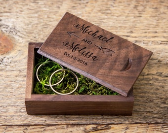 Engraved Wood Box ( Ring Box , Small USB Box , Engagement Ring Box , Tiny Gift Box , Ring Bearer Box in Maple or Walnut Wood )