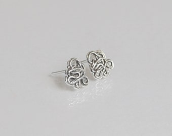 Unique Stud Earrings, Ornate Earrings, Sterling Silver Earrings, Dainty Stud Earrings, Delicate Earrings, Small Earrings, Everyday Earrings