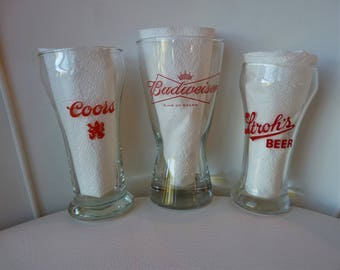 Three Vintage American Brewer Beer Glasses, Coors, Stroh's, Budweiser, Excellent, 60's/70's ?  Barware, Breweriana
