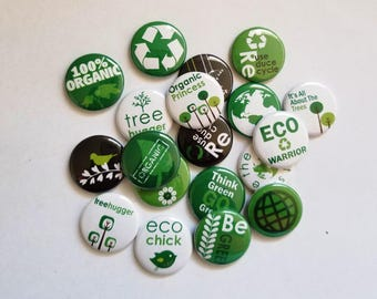 "Eco Green 1"" Buttons. (set of 20)"