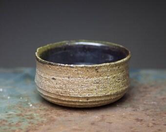 Wheel-thrown wood fired ceramic stoneware pottery tea bowl, chawan